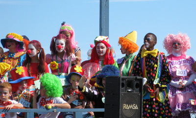 young and old clowns on the Franklin Ave stage