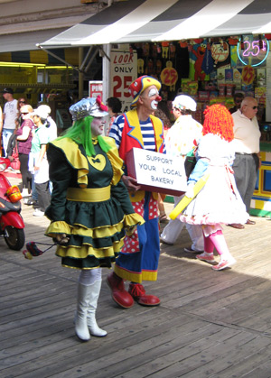 clowns walking on the boardwalk