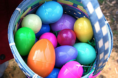 plastic easter eggs in a basket