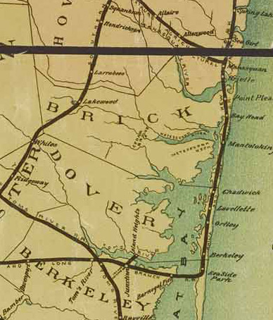 1887 map of the railroad connections passing what was to become Seaside Heights, NJ