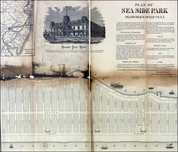 an 1860 advertisement for the Seaside Park hotel and the purchase of land plots