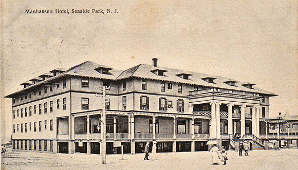 1910 view of the Manhassett Hotel in Seaside Heights New Jersey