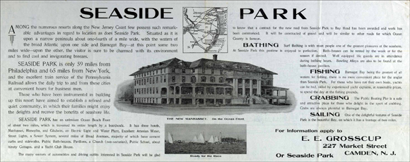 a 1908 ad offering land to buy in Seaside Park, NJ