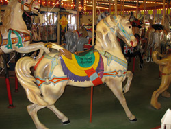 a wooden horse from the historic carousel